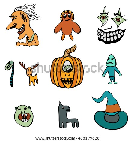 Set of Halloween Monsters and Hats. Vector illustration.