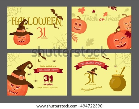 Set of halloween party invitations. Poster designs with halloween symbols and calligraphy.  Halloween Night Party. Trick or Treat. Vector illustration in flat style.