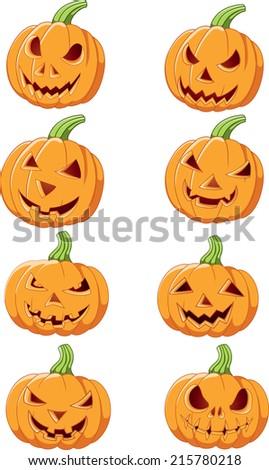 Set of Halloween pumpkin - stock vector