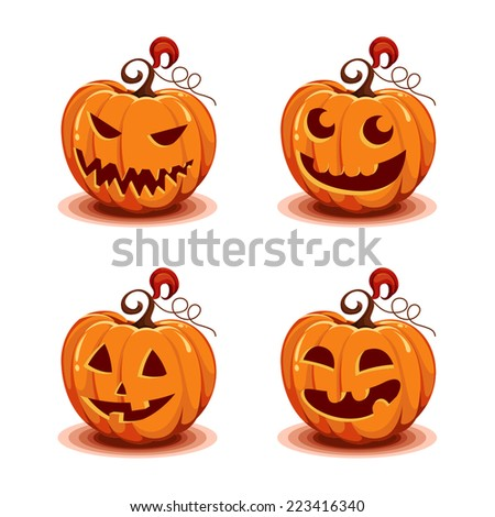 Set of halloween pumpkins - stock vector