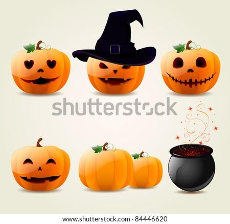 Set of halloween pumpkins - stock vector