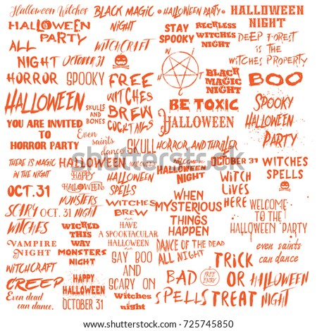 Set Of Halloween Quotes For Posters About Halloween Party And Scary Phrases  For Greeting Card Printable