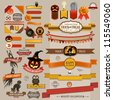 Set of Halloween retro ribbons - scrapbook elements. Vector illustration. - stock vector