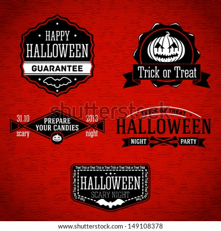 Set of halloween retro vintage labels with jack-o-lantern, bat and bones. Vector - stock vector