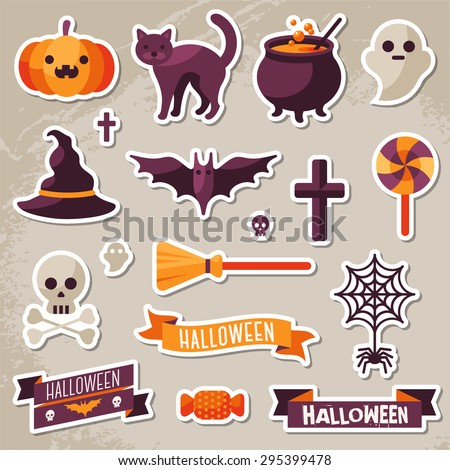 Set of Halloween Ribbons and Character Stickers. Scrapbook elements. Textured background. Witch Hat, Sweet Candy, Spider and Web, Skull - stock vector