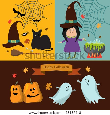 Set of Halloween ribbons and characters.  Vector illustration. Cat, bat, spider, ghost, pumpkin, witch hat,