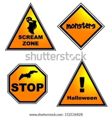 Set of Halloween road signs