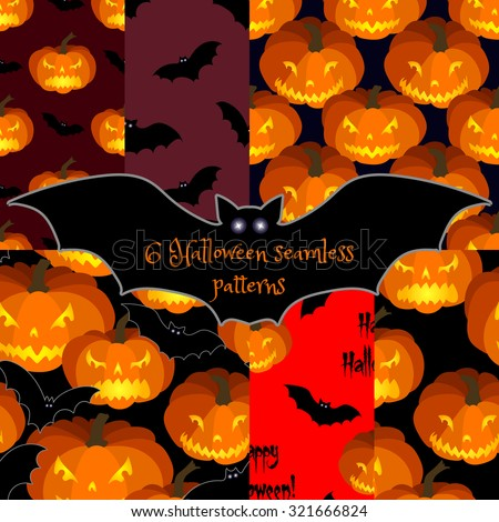 Set of Halloween seamless backgrounds with pumpkins and bats. All Saints' Eve seamless pattern.