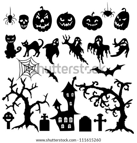 set halloween silhouette on white background stock vector royalty rh shutterstock com Cat Halloween Window Silhouette Templates Scary Silhouette Halloween Tree
