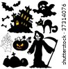 Set of Halloween silhouettes - vector illustration. - stock vector