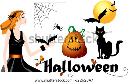 Set of halloween symbols: black cat, witch, pumpkin, bats and spider - stock vector