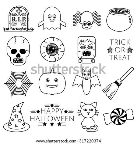 set of halloween themed line icons isolated on white