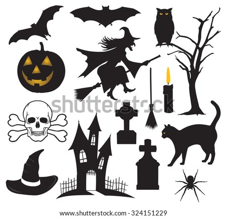 Set Halloween Things Stock Vector (Royalty Free) 324151229 ...