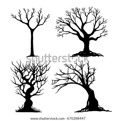 set of halloween tree dead branch from vectorhalloween tree by hand drawing - Black Halloween Tree