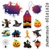 Set of halloween vector character icons and design elements - stock vector