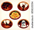 Set of Halloween vector labels or icons, with classical cartoon illustrations of Vampire Bats, Sweet Pumpkin, Flying Witch... - stock photo
