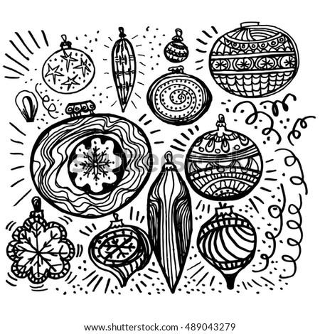 Set Of Hand Draw Christmas Ball For Xmas Design Sketch Vector Illustration