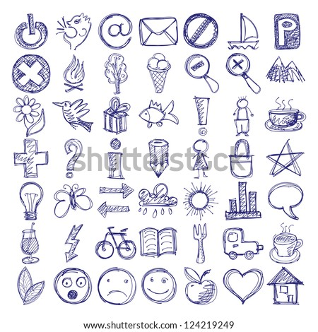 Set 49 Hand Draw Web Icon Stock Vector Royalty Free 124219249