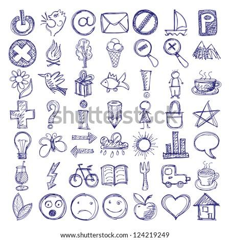 Set 49 Hand Draw Web Icon Stock Vector 124219249 Shutterstock