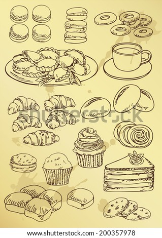 set of hand drawing  cakes and sweet - stock vector