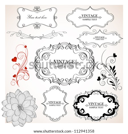 Set of  hand-drawing calligraphic floral frames and design elements. Vector illustration. - stock vector