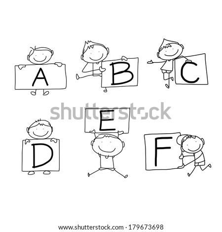 set of hand drawing cartoon character happiness alphabet