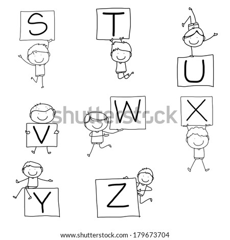 set of hand drawing cartoon character happiness alphabet - stock vector
