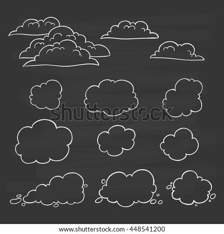 Set of hand drawing clouds on chalkboard background - stock vector