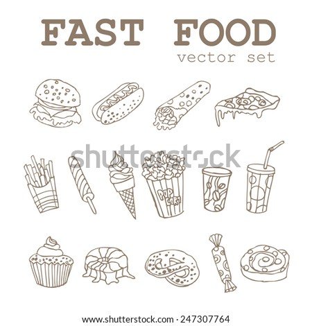 Set of  hand-drawing food icons logo with a soda, cheeseburger, french fries, ice cream, hotdog,  pizza, sweets, donut, popcorn for fastfood design