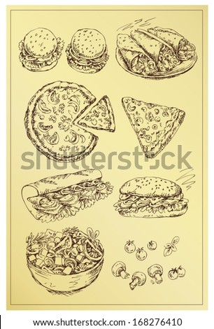 set of hand drawing sandwiches ,pizza ,salad and mushrooms - stock vector