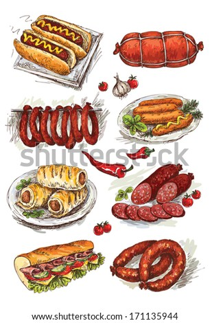 set of hand drawing sausage - stock vector