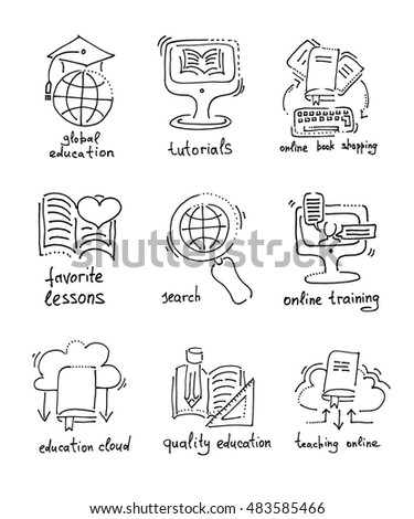 Set Hand Drawing Sketch Icons Distance Stock Vector 483585466 ...