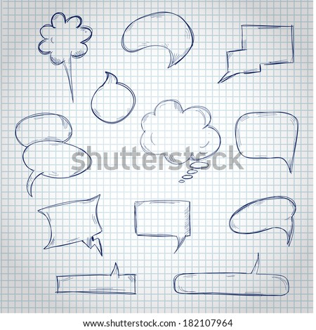 Set of Hand Drawing Speech Bubbles on Copy-book Sheet  - stock vector