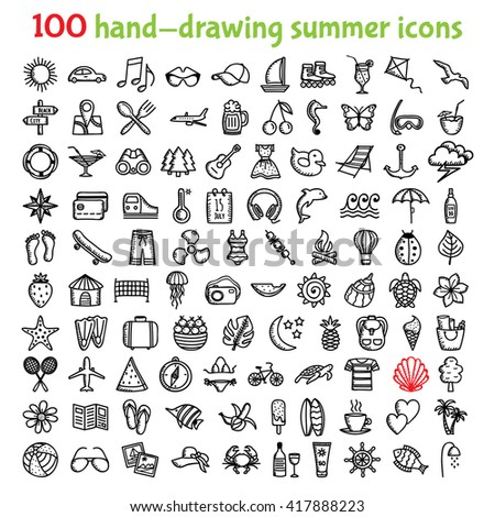 Set of 100 hand-drawing summer time icons for web and mobile. Vector illustration.