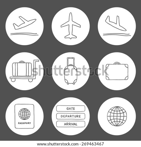 Set of hand drawn airport icons for your design