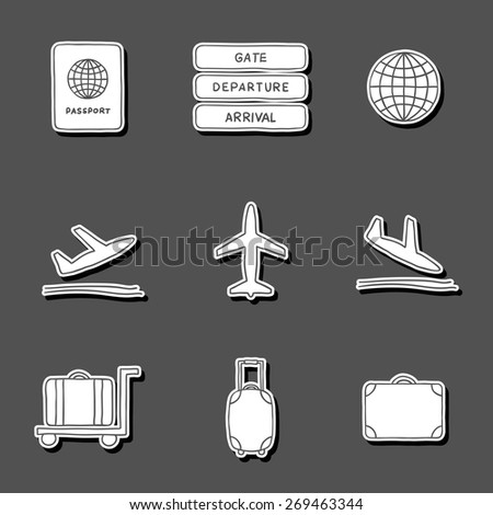 Set of hand drawn airport stickers for your design