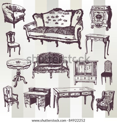 Set of Hand Drawn Antique Furniture - stock vector