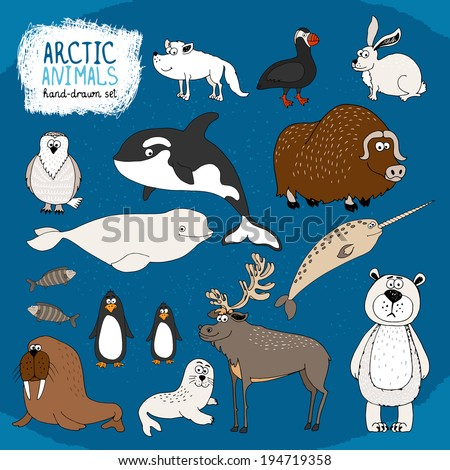 Set of hand-drawn arctic animals on a cold blue background  - stock vector