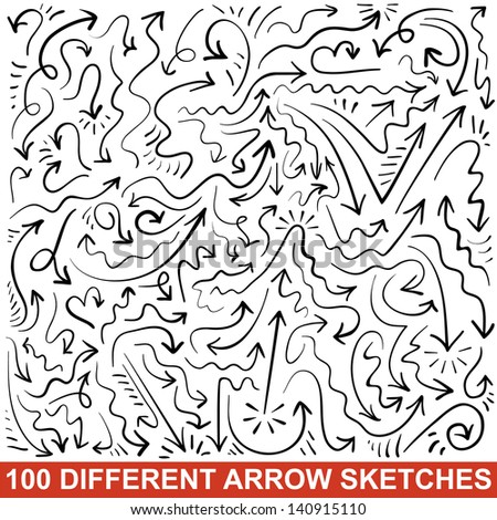 Set of 100 hand drawn arrow sketches. Black graphic pointers. Vector illustration for your business and education design. Collection of the signs displaying different types of changes. - stock vector