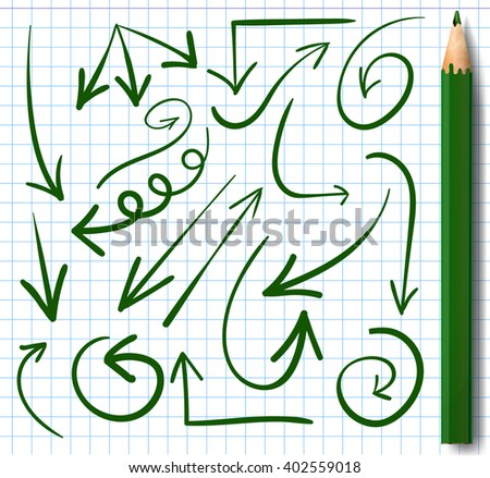 Set of hand-drawn arrows and realistic green pencil. VECTOR. Green arrows