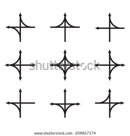 Set of hand drawn arrows. Arrows in different directions with turns. Pointer movement.