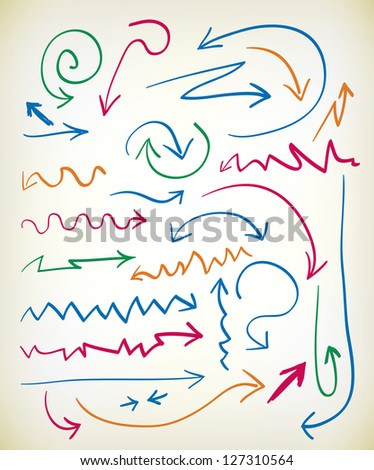 Set of hand drawn arrows in various colored inks with zig zag, curlicue, wavy, and curved lines leading to the arrowhead - stock vector