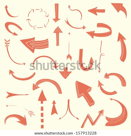 Set of hand drawn arrows - navigation elements for your web site. Web design elements made in vintage red color. - stock vector