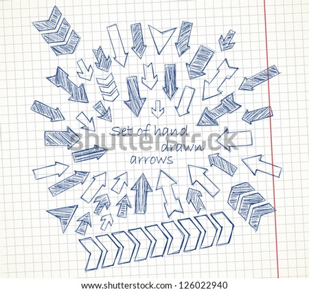 Set of hand drawn arrows on a notebook sheet. Vector image. - stock vector