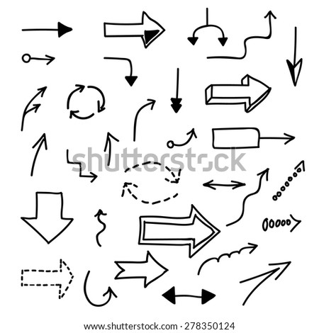 Set of hand-drawn arrows on white background. Infographic elements. Vector illustration