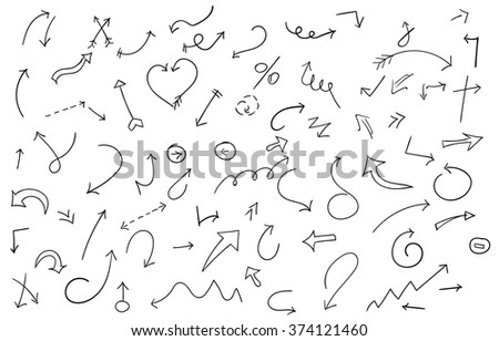 Set of hand drawn arrows. Vector objects. Doodle isolated elements on white background. Hand drawn vector arrows for web.