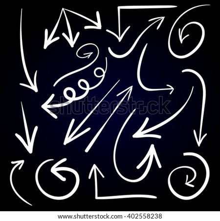 Set of hand drawn arrows. VECTOR. White arrows on black background.  - stock vector