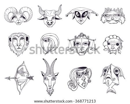 Set Hand Drawn Astrological Zodiac Symbols Stock Vector Royalty