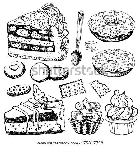 Set of Hand Drawn Bakery Goods. Vector Illustration. - stock vector