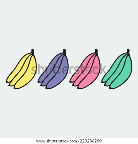 set of hand-drawn banana - illustration on the theme of the summer and autumn - farm, fruit, natural. Pink, green, yellow and violet sweet and tasty bananas. - stock vector